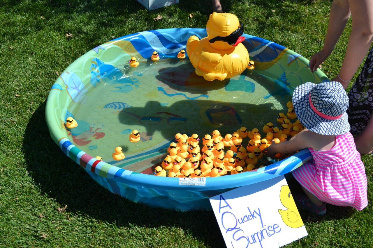 Duck race merchandise being used in a kiddie pool