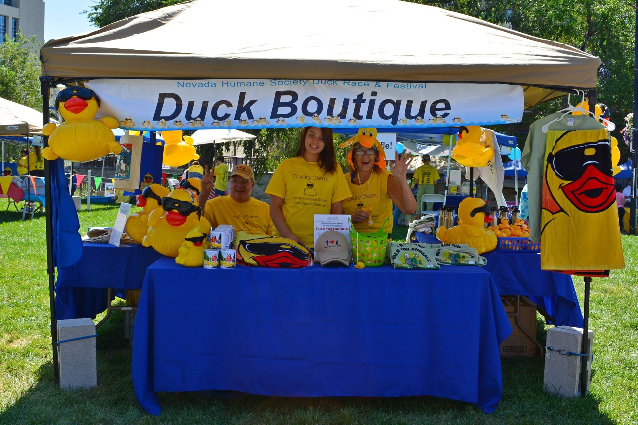 Duck race merchandise being used in a duck boutique