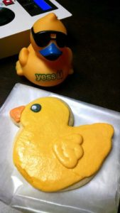 Holiday rubber duck race promotion cookies
