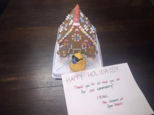 Holiday rubber duck race gingerbread house
