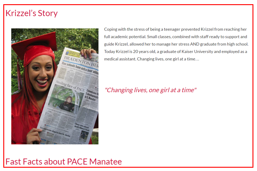 Pace Center for Girls tagline
